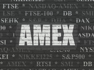Stock market indexes concept: AMEX on wall background