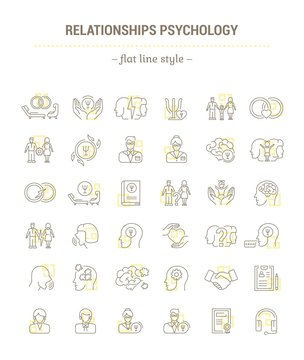 Vector graphic set.Icons in flat, contour,thin, minimal and linear design.Family Psychology. Psychology of marriage.Simple isolated icons.Concept illustration for Web site app.Sign,symbol,element.