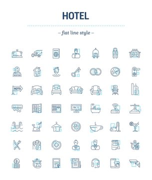 Vector graphic set.Icons in flat, contour,thin and linear design.Hotel and its services.Simple isolated icon on white background.Concept illustration for Web site, app.Sign,symbol,emblem.