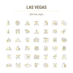 Vector graphic set of icons in flat, contour, thin, minimal and linear design. Las Vegas. Slot machine, casino, poker. Simple isolated icons.Concept illustration for Web site app.Sign,symbol,element.