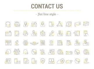 Vector graphic set. Icons in flat, contour,thin and linear design.Contact us. Information Support.Simple isolated icons.Concept illustration for Web site app.