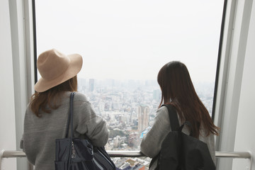 Two women admiring the panorama of the metropolis from a skyscraper window.