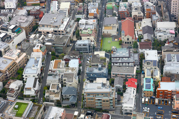 Fragment of dense housing metropolis of skyscraper windows. Japan.