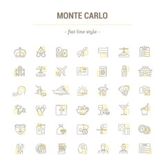 Vector graphic set. Icons in flat, contour,thin, minimal and linear design.Monte Carlo.City of entertainment.Vacation, casino, beach.Simple isolated icons.Concept of web site and app.Sign,symbol.
