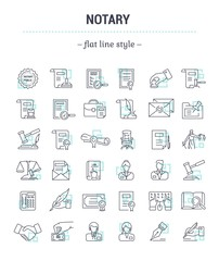 Vector graphic set.Icons in flat, contour,thin, minimal and linear design.Notary office. Paperwork, document notarized.Simple isolated icons.Concept illustration for Web site app.Sign,symbol,element.