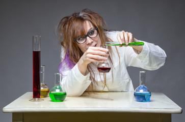Mixing liquid shaggy scientist in lab