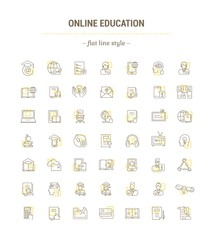 Vector graphic set. Icons in flat, contour,thin, minimal and linear design. Online education and training. Modern teaching. Simple isolated icons.Concept for web site and app. Sign,symbol,element.