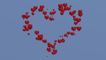 3d-Illustration, Liebesherz aus roten Herzen