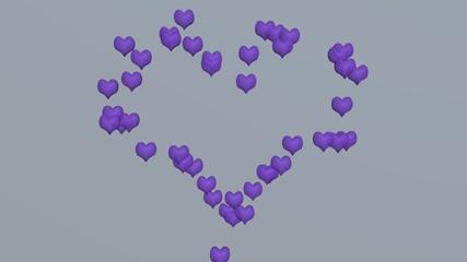 3d-Illustration, Liebesherz aus lila Herzen