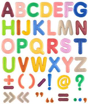 ABC. Handmade multicolor Alphabet set with punctuation marks from felt isolated on white background