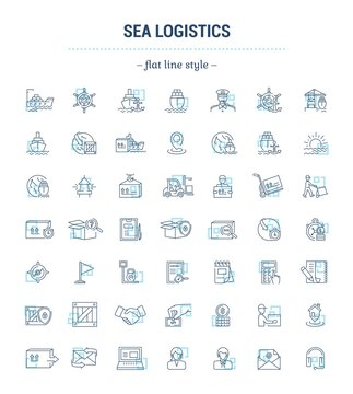 Vector graphic set. Icons in flat, contour, thin, minimal and linear design.Sea Logistics. Sending freight by sea route. Simple icon on white background. Concept for Web site, app.Sign,symbol,emblem.