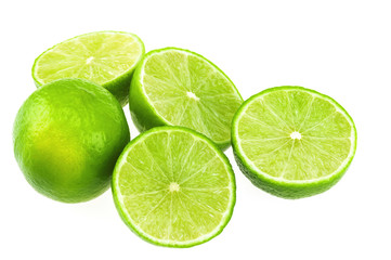 Green lemon isolated over white