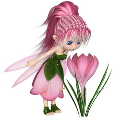 Cute Toon Pink Spring Crocus Fairy, Standing by a Flower - fantasy illustration