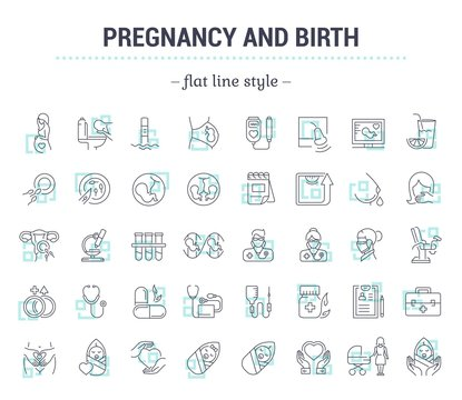 Vector graphic set.Icons in flat, contour,thin and linear design.Pregnancy. Gestation. Incubation of the child.Simple isolated icons.Concept illustration for Web site app.Sign,symbol,element.