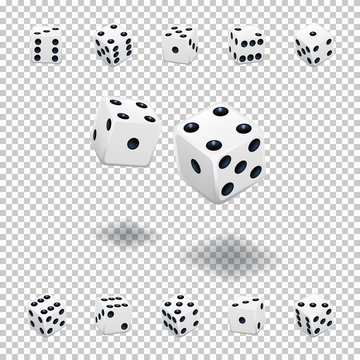 Dice gambling template. White cubes in different positions on transparent background. Vector illustration.