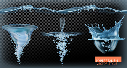 Water tornado with transparency, hyperrealism vector set