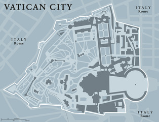 Vatican City State political map. Walled enclave within the city of Rome, Italy. The sovereignty is held by the Holy See. Smallest state in the world. Gray illustration with English labeling. Vector.