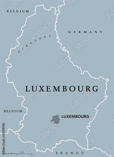 Capital Of France Map.Luxembourg Political Map With Capital National Borders And Neighbor