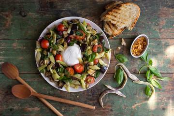 Romano bean salad with tomato and burrata