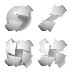 Set of different arrows orbiting around the sphere 3d rendering
