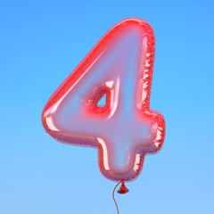 Transparent balloon font number 4