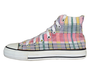 vintage style of sport plaid sneaker shoe isolated on white background with clipping path