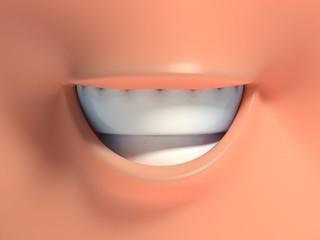 Cartoon face smile 3d rendering