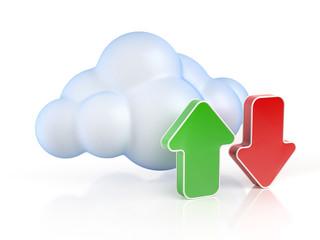 Cloud computing upload download 3d concept