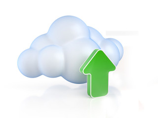 Cloud computing upload 3d concept