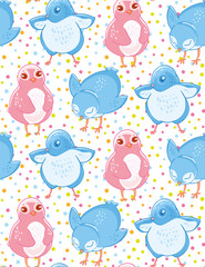Seamless pattern with cute blue and pink little birds on cofetti background.