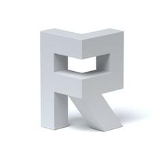 Isometric font letter R