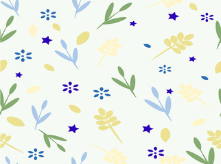Background with flowers and leaves and stars. Vector illustration.