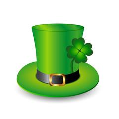 Cappello a tubo verde del leprechaun con quadrifoglio