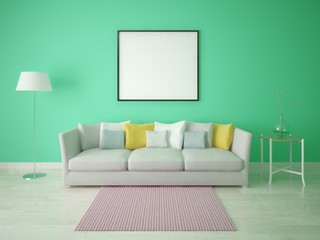 Mock up a bright living room with a stylish sofa on a green background.