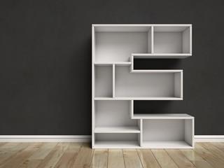 Letter E shaped shelves 3d rendering