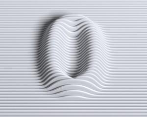 Linear 3d font number 0