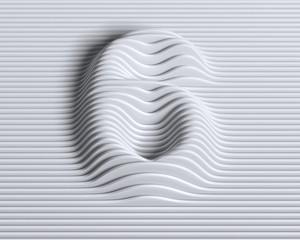 Linear 3d font number 6