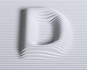 Linear 3d font letter D