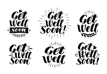 Get well soon, label. Health, medicine, hospital symbol. Lettering, calligraphy vector illustration