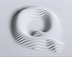 Linear 3d font letter Q