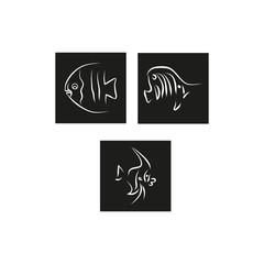 Three fish logo on a black background. Vector illustration