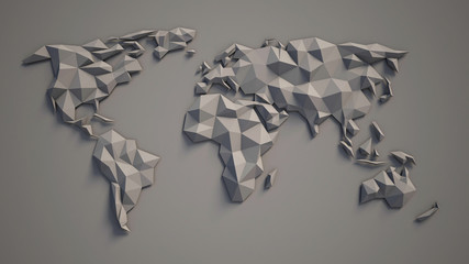 3d triangular world map