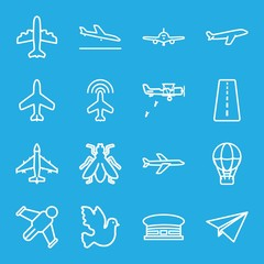 Set of 16 flight outline icons
