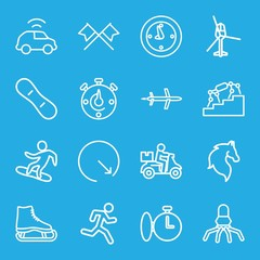 Set of 16 speed outline icons