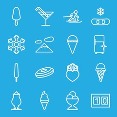 Set of 16 ice outline icons