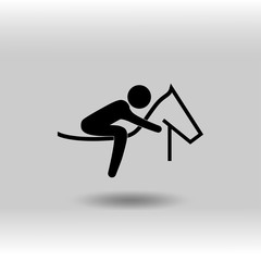 eps 10 vector Equestrian Jumping sport icon. Summer sport activity pictogram for web, print, mobile. Black athlete sign isolated on gray. Hand drawn competition symbol. Graphic design clip art element