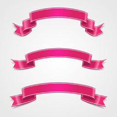 Set pink ribbon. Template holiday card. Vector, eps10.