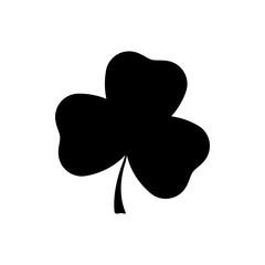 Clover leaf black silhouette. Vector illustration