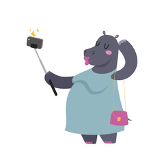 Funny picture photographer mamal person take selfie stick in his hand and cute hippo animal taking a selfie together with smartphone camera vector illustration.
