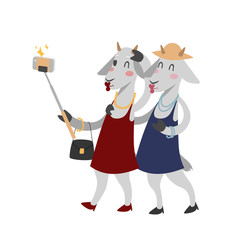 Funny picture goats photographer mamal person take selfie stick in his hand and cute animal taking a selfie together with smartphone camera vector illustration.